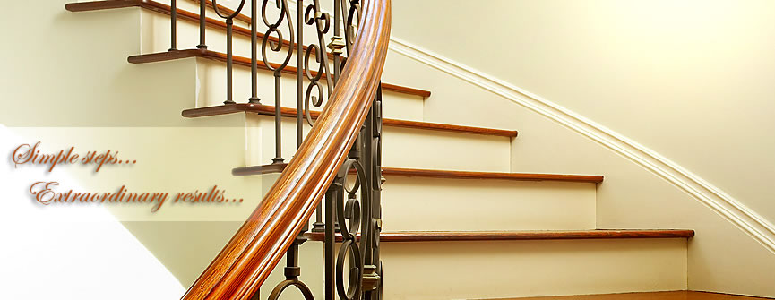 new residential wood and metal stair installation