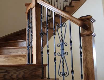 oak stairs with metal balusters